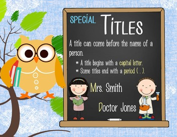 OWLS - 1st grade GRAMMAR posters / Scott Foresman Reading