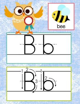 OWLS - Alphabet Cards, Handwriting, ABC Flash Cards, ABC print with pictures