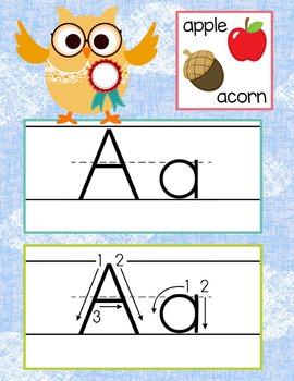 OWLS - Alphabet Cards, Handwriting, ABC Flash Cards, ABC p