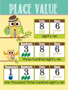 OWLS - Classroom Decor: Place Value Chart - size 18 x 24