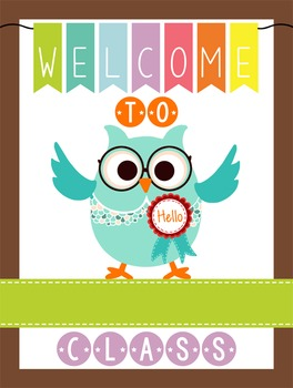 OWLS - Classroom Decor: WELCOME Poster - 18 x 24, you personalize, Design A