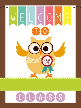 OWLS - Classroom Decor: WELCOME Poster - 18 x 24, you pers