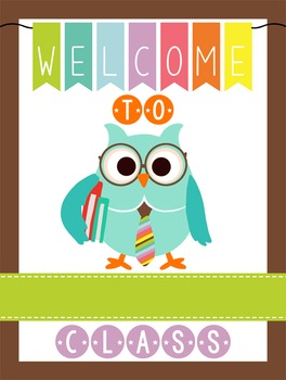 OWLS - Classroom Decor: WELCOME Poster - 18 x 24, you personalize, Design C