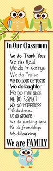 OWLS - Classroom Decor: X-LARGE BANNER, In Our Classroom We are Family