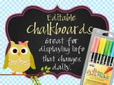 OWLS - Classroom Decor: editable chalkboard  POSTERS / Bistro Chalk Markers