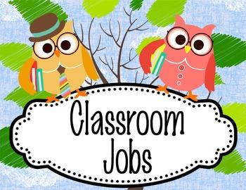OWLS - Classroom Helpers JOBS clip chart