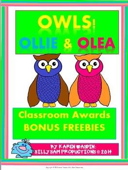 OWLS! Ollie & Olea BONUS FREEBIE AWARDS Pack