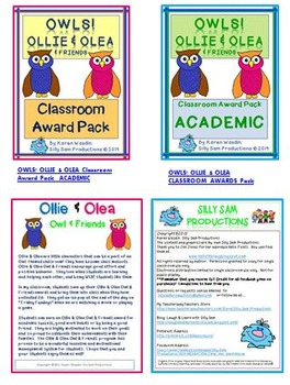 OWLS! Ollie & Olea Classroom Awards Pack WORK HABITS