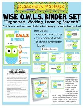 O.W.L.S. School-to-Home Communication Binder Set