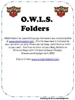 O.W.L.S. Speech/Language Folders