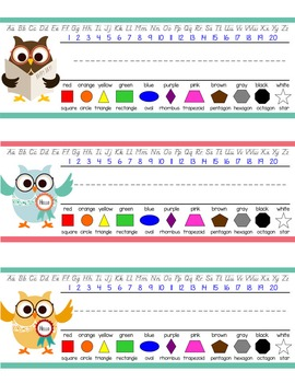 OWLS - Student desk nameplates, you personalize