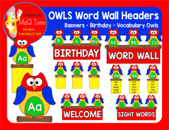 OWLS THEME WORD WALL A to Z  Banners and Posters