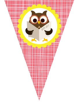 OWLS theme Classroom Decor - Triangle Banners, CREATE a BANNER