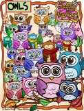 OWLS clipart _ by Happy Markers