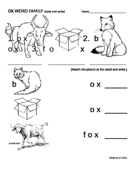 OX FAMILY WORDS - fox, box, ox