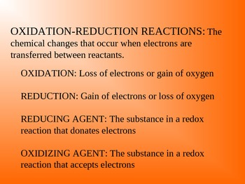 OXIDATION-REDUCTION REACTIONS Presentation