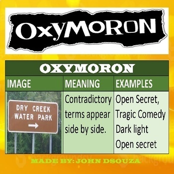 Oxymoron Lesson Plan Chart Lists Worksheets By John Dsouza Tpt