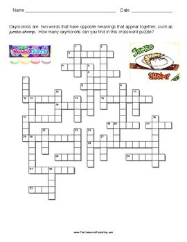 OXYMORONS CROSSWORD PUZZLE (Jumbo Shrimp and 31 more!)