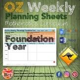 Australian Maths Weekly Planning Sheets - Foundation Year