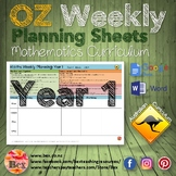 Australian Maths Weekly Planning Sheets - Year 1