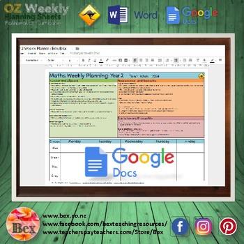 Australian Maths Weekly Planning Sheets - Year 2.