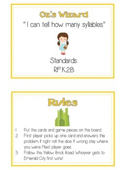 OZ'S WIZARD Syllables - ELA First Grade Folder Game - Word Work Center