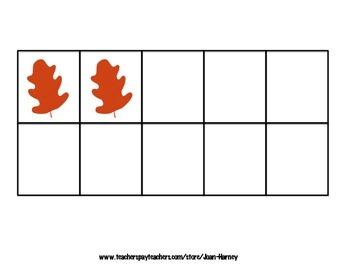 Oak Leaf Tens Frames 0-30 for Subitizing Practice...Fall, Autumn, Trees