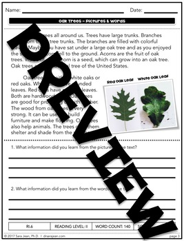 Oak Trees • Reading Comprehension Passages and Questions • RL II