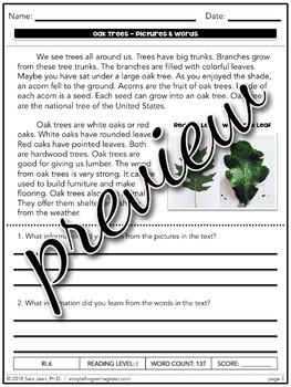 Oak Trees • Reading Comprehension Passages and Questions • RL I & II