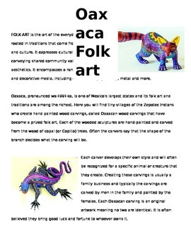 Oaxaca Folk Art Worksheet
