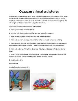 Oaxacan animal sculpture handout