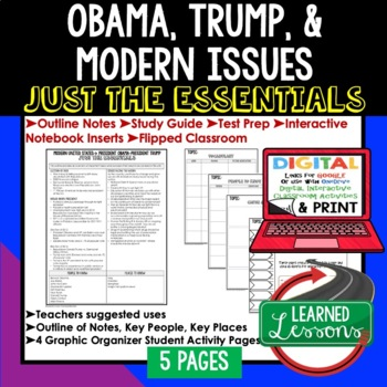 Obama & Trump Outline Notes JUST THE ESSENTIALS Unit Review
