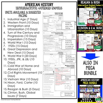 Obama to Current Events Notes & PowerPoints, US History, Print, Digital