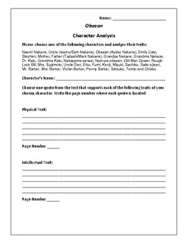 Obasan - Character Analysis Activity - Joy Kogawa