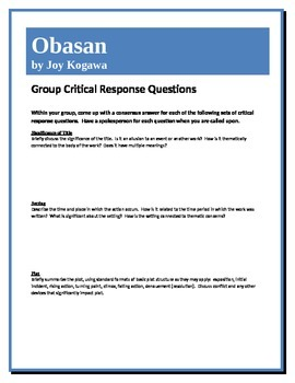 Obasan - Kogawa - Group Critical Response Questions