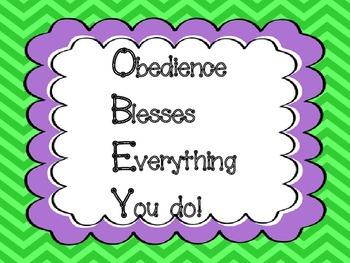 Obedience Behavior Clip Chart based on God's Word!