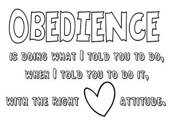 Obedience Coloring Sheet By Nicki S Digital Designs Tpt