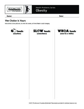 Obesity Teacher's Guide (Pre-K to Grade 2)