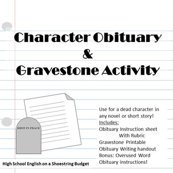 Obituary and Gravestone Writing for Dead Characters and More