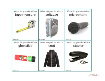 Object Function Vocabulary Cards: Photo