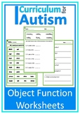 Object Function Worksheets Autism Special Education ESL
