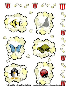 Object Matching - Popcorn Theme - File Folder style Printable Activity Center