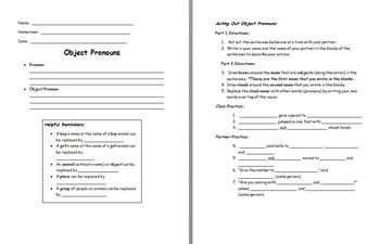 Object Pronoun Movement Activity and Note Sheet