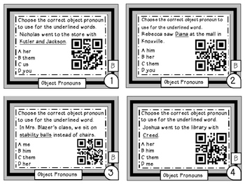 Object Pronouns Differentiated Task Cards with QR Codes Grade 6