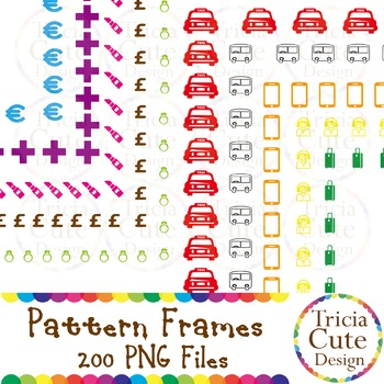 Object and Pattern Frames Borders Clipart 200 files