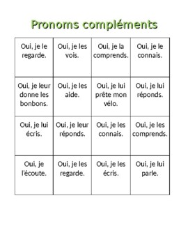 pronoms compl ments french object pronouns bingo and worksheet by jer520 llc. Black Bedroom Furniture Sets. Home Design Ideas