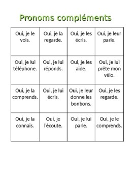 Pronoms compléments French Object Pronouns Bingo and Worksheet