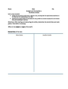 Objective Artcile Summary Common Core