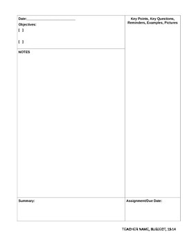 Objective-Based Note Template