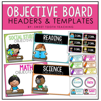 Objective Board Labels-Colorful Chalkboard